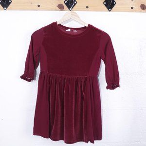 Gap Kids Red Velvet Long Sleeved Dress